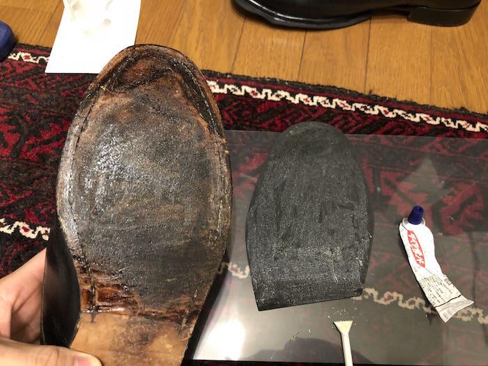 貼り合わせ前の靴底とハーフソール