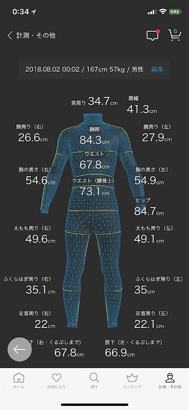 zozoスーツ最新計測結果