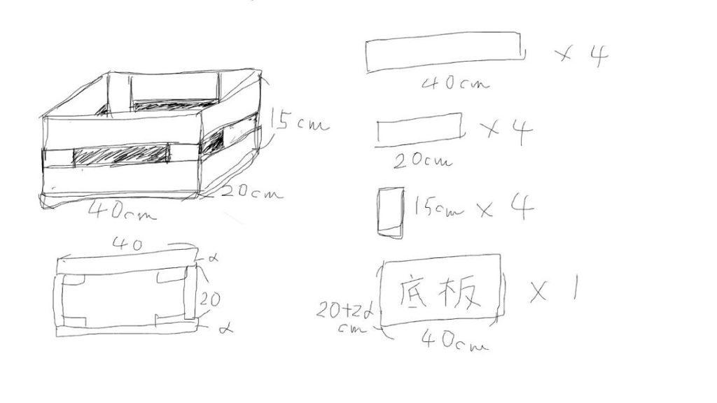 木箱の図面
