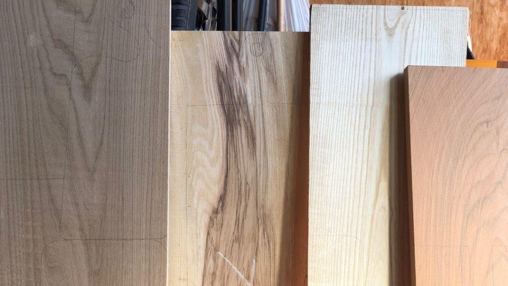 いろいろな樹種の板