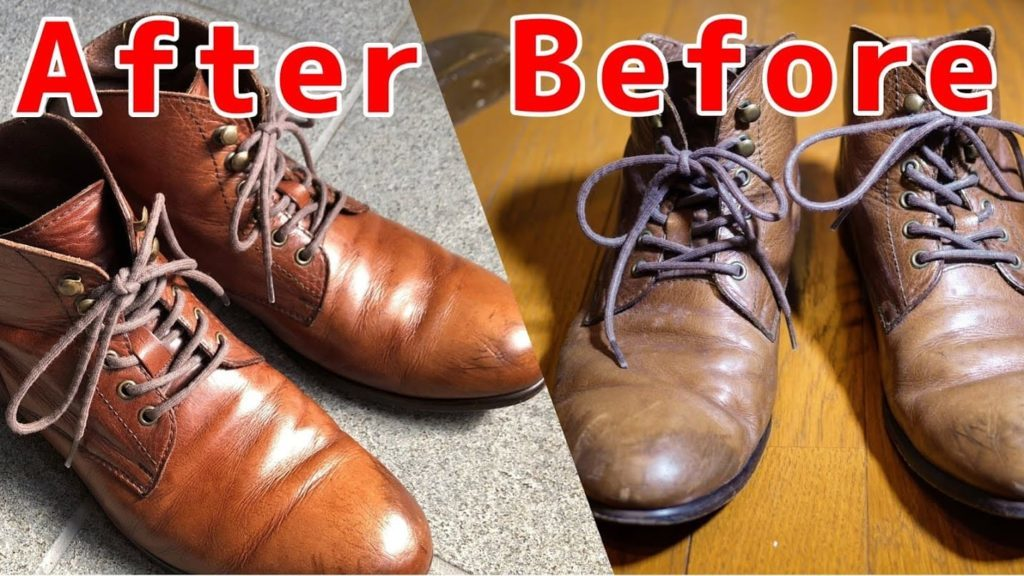 カビの生えた靴と除去後の靴