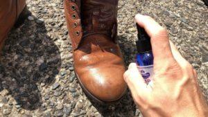 モールドクリーナーを靴にスプレー