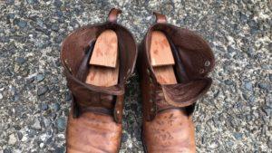 水洗い後の革靴 シューツリー入り