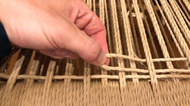 ペーパーコードの横編み