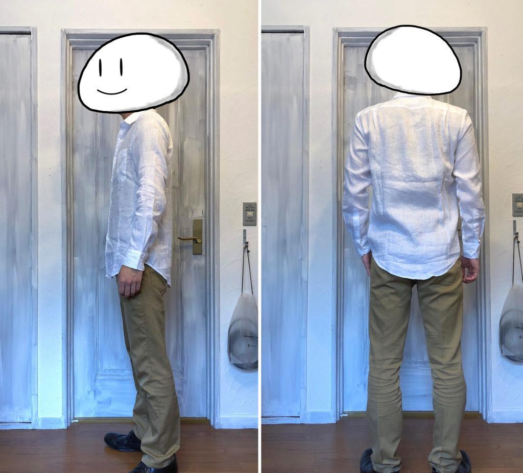 プレミアムリネンシャツ着用 白 側面と背面