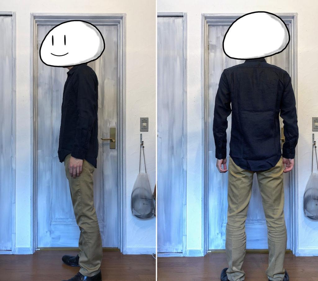 プレミアムリネンシャツ着用 ネイビー 側面と背面