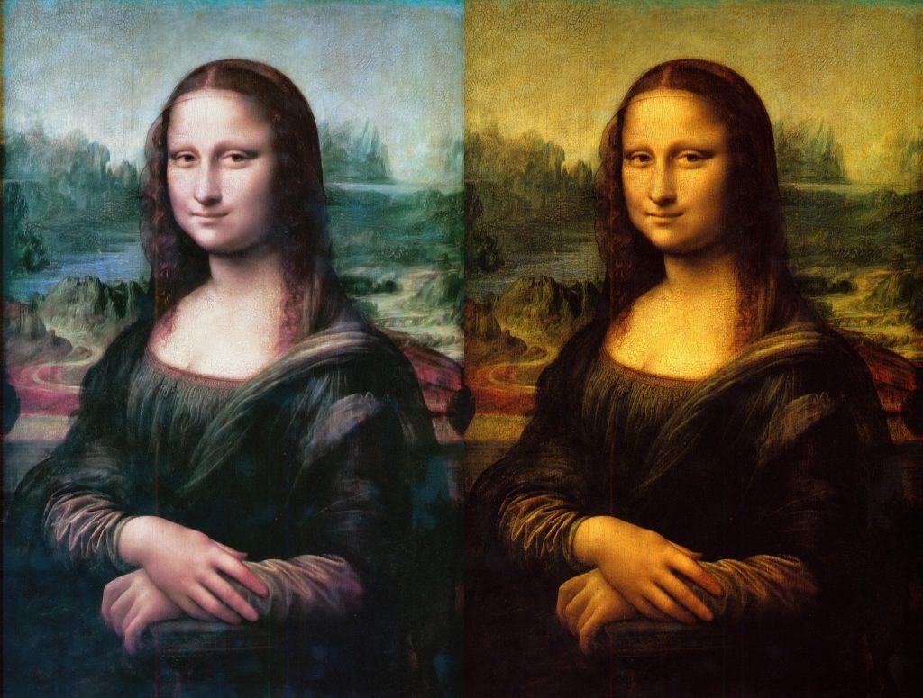 現在のモナリザと書かれた当時の色の再現