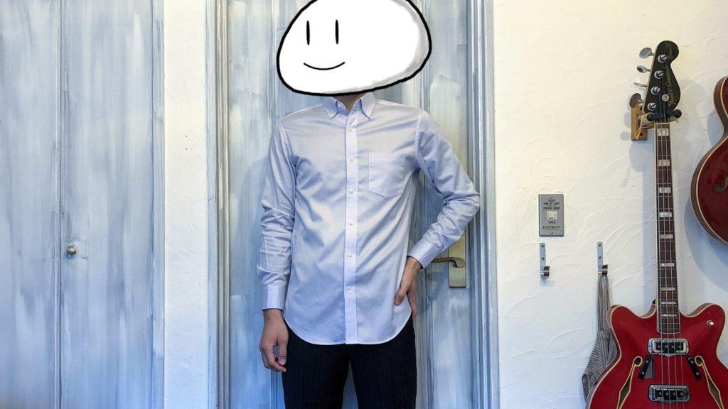 ストレッチスリムフィットシャツ着用 裾だし