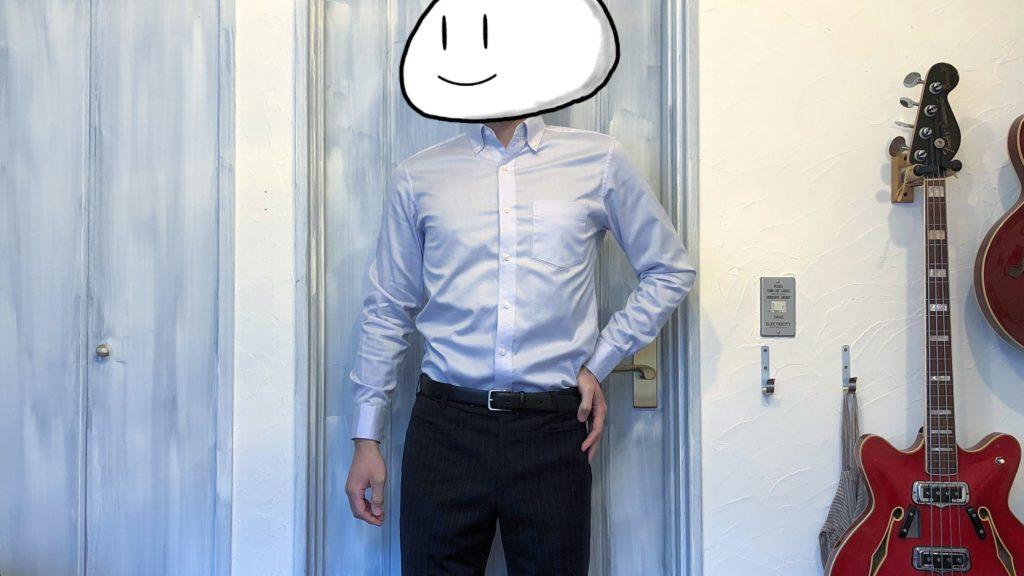 ストレッチスリムフィットシャツ着用 タックイン正面