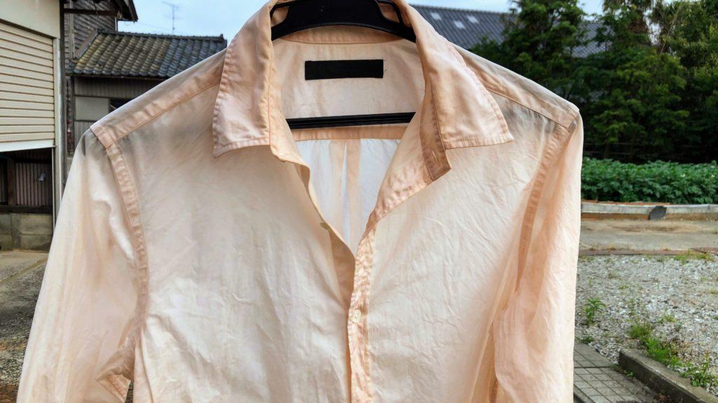 柿渋で染められたシャツ