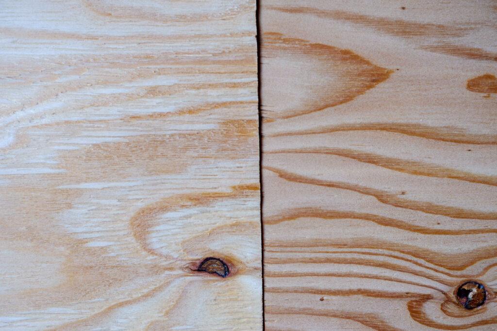 やすりがけが終わった針葉樹合板